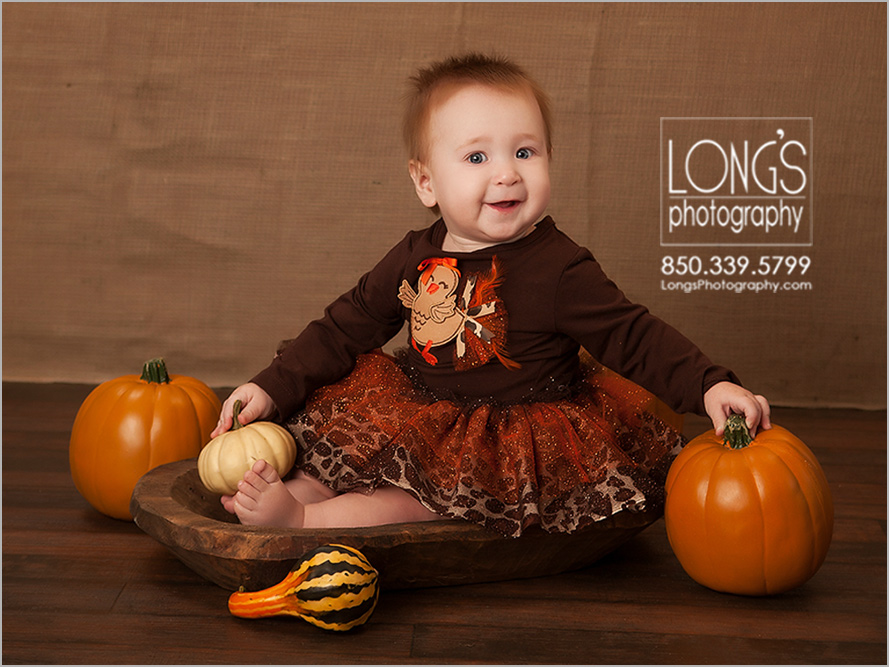 Nine month baby portraits in Tallahassee